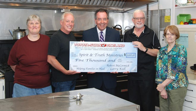(From left) Pam Carmen, kitchen director for Spirit & Truth Ministries; Matt Milam, treasurer and board f directors member for Spirit & Truth; Bob McCormick of Toyota-Scion of Vineland; John Fordyce, board president for Spirit & Truth; and Holly Gove, executive director for Spirit & Truth.