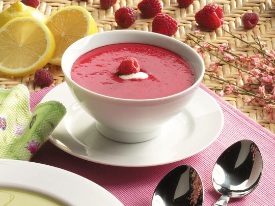 Raspberries, red wine or grape juice, sugar and sour cream are all that's need to make this summer soup.