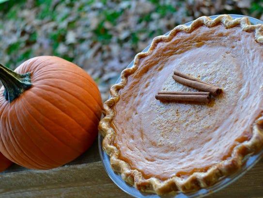 A pumpkin pie with homemade pumpkin puree from a local