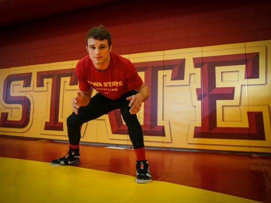 Iowa State 141-pounder Kanen Storr poses for a photo during the Iowa State wrestling media day on Tuesday, Oct. 31, 2017, in Ames.