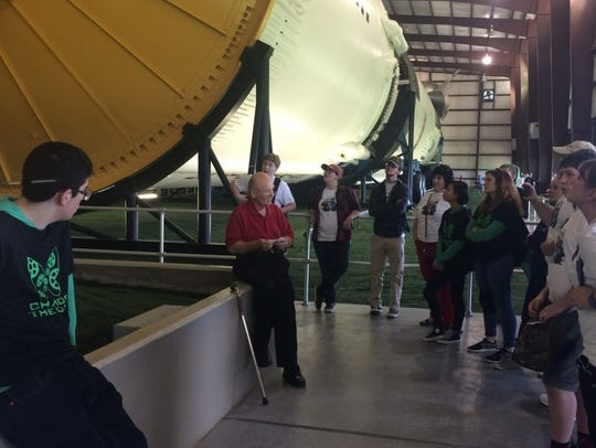 Dr. Norman Chaffee meets with students at Rocket Park