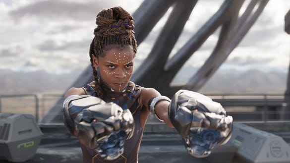 """Letitia Wright in a scene from """"Black Panther."""" The film has a certified """"fresh"""" score of 97 percent on the movie review site Rotten Tomatoes."""