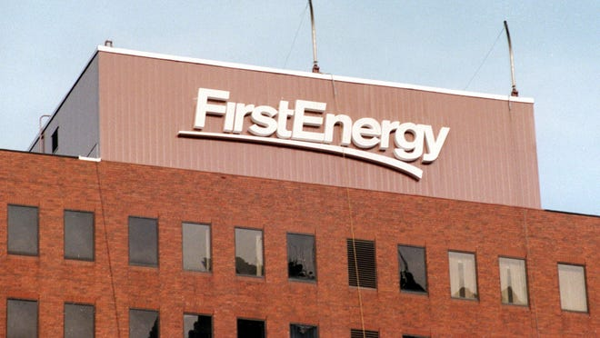 The FirstEnergy building in downtown Akron.