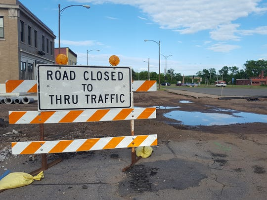 Road work is underway at Second Avenue South and Clark Street in Wausau on June 23, 2016.