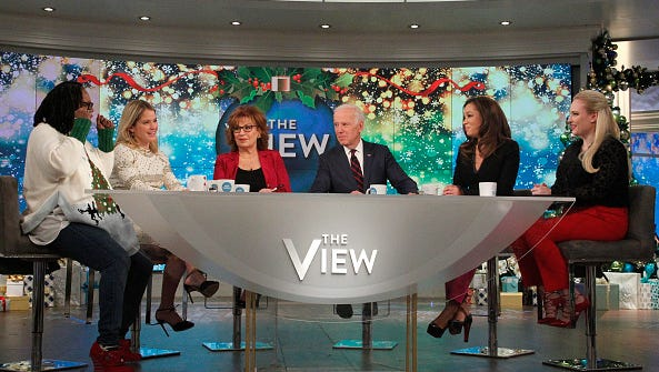 "On ""The View"" Tuesday, Meghan McCain gave a brief update on the health of her father, Sen. John McCain, who is expected to return to Washington this month. Vice President Joe Biden was a guest on ""The View,"" Wednesday, December 13, 2017."