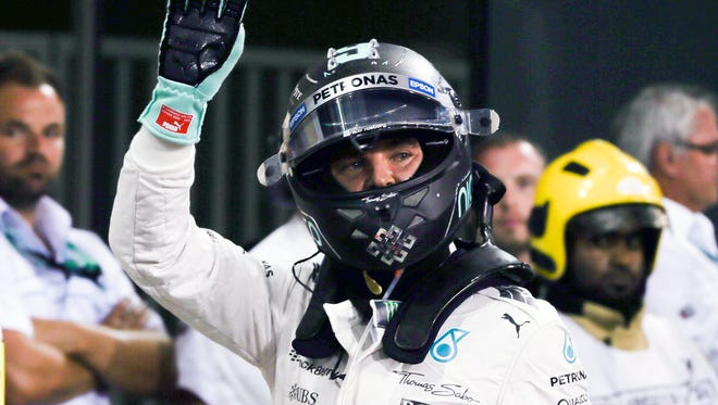 German Formula One driver Nico Rosberg of Mercedes AMG GP reacts as he took pole position at the end of the qualifying session in Abu Dhabi.