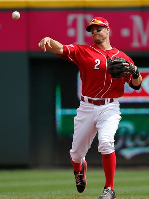 Zack Cozart throws to Joey Votto at first base to make an out against the Pirates at Great American Ball Park.