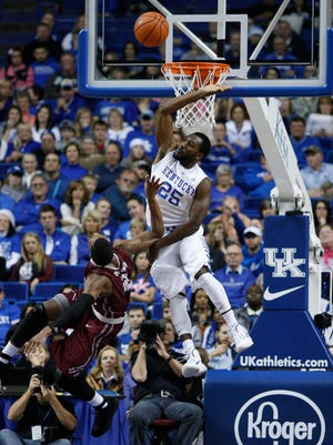 Kentucky guard Dominique Hawkins soars to contest a shot against Eastern Kentucky.
