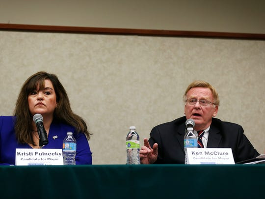 Mayoral candidates Kristi Fulnecky (left) and Ken McClure during the News-Leader's Hometown Election forum held at the Library Center in Springfield, Mo. on March 23, 2017. The forum featured candidates for city-wide races in this April's election.