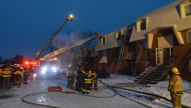 No injuries were reported in an apartment fire that displaced 12 families Monday.