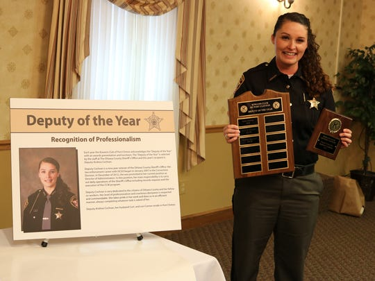Deputy Andrea Cochran, of the Ottawa County Sheriff's Office, was recognized as one of the Kiwanis Club's Law Enforcement Officers of the Year, an award voted on by her department peers.