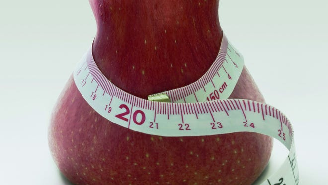 Slim apple with tape measure