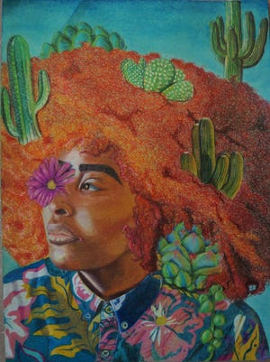 """Student Jae'Lisa Williamsonwon a national Scholastic Gold Medal for drawing and illustration for her piece """"Resilient."""""""