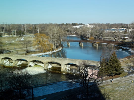 Flint River seen from Michigan State Office building on Friday, January 29, 2016, in Flint.