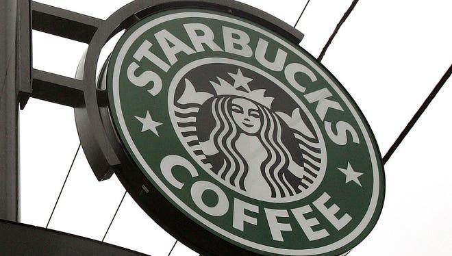 A Starbucks drive-thru sign.