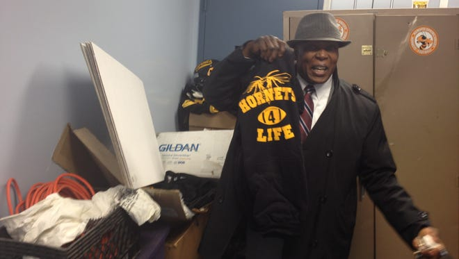 "Spring Valley Mayor Demeza Delhomme stands in small room where Ramapo Spring Valley Midget Football League equipment is being stored, March 20, 2014. He says the village is cleaning up and repairing theWilliam ""Bill"" Darden Community Center. League officials and Trustee Emilia White say he is moving out the kids to another center against the will of the village board. The mayor isn't saying if the league will be back after the sprucing up."