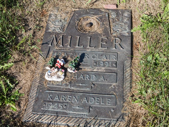 A view of Heather Miller's gravestone.