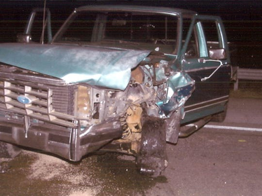 The pickup truck driven by Larry Bruce Williamson during the July 10, 2006, crash that killed Brandon Franklin, 21, and Jenilyn Addis Franklin, 18.  (Sevier County DA)