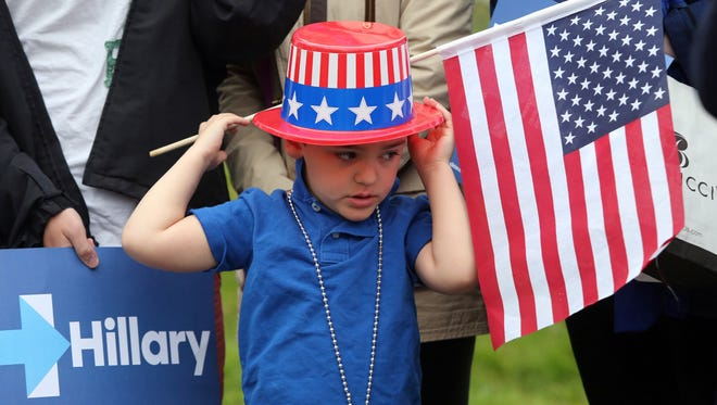 Ben Meli, 4/12 from Armonk is decked out in patriotic colors at the Douglas Grafflin Elementary School in Chappaqua, April 19, 2016.