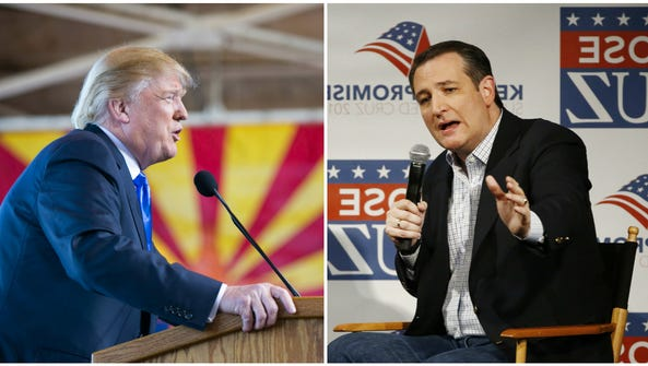 Presidential candidates Donald Trump and Ted Cruz both