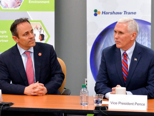 Vice President Mike Pence, right, and Kentucky Gov.