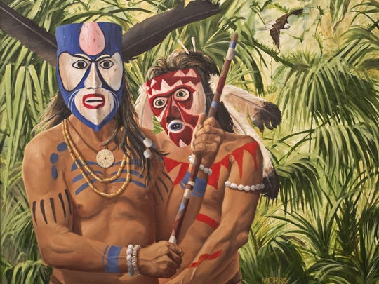 """The painting """"High Priests"""" is one of six Theodore Morris paintings included in the upcoming """"ArtCalusa"""" exhibition at the Brevard Museum of History and Natural Science in Cocoa."""