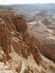 A pathway leads to the ruins of ancient Masada.