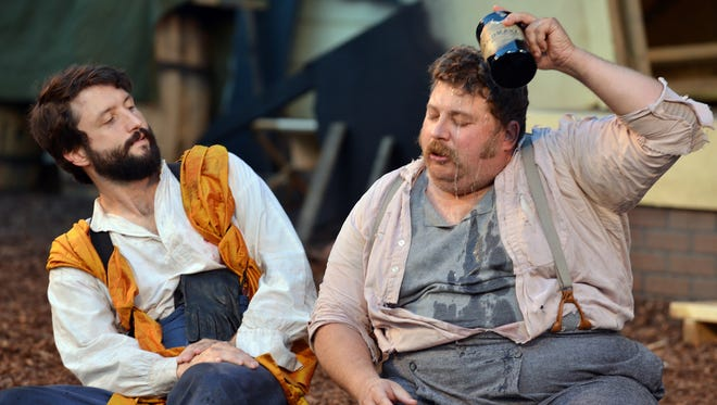 """Matt Garner portrays the young Henry and Aaron Muñoz plays multiple roles — including the Archbishop of Canterbury and an all-too-brief Falstaff — in Nashville Shakespeare Festival's """"Henry V,"""" running through Sept. 13 at Centennial Park."""