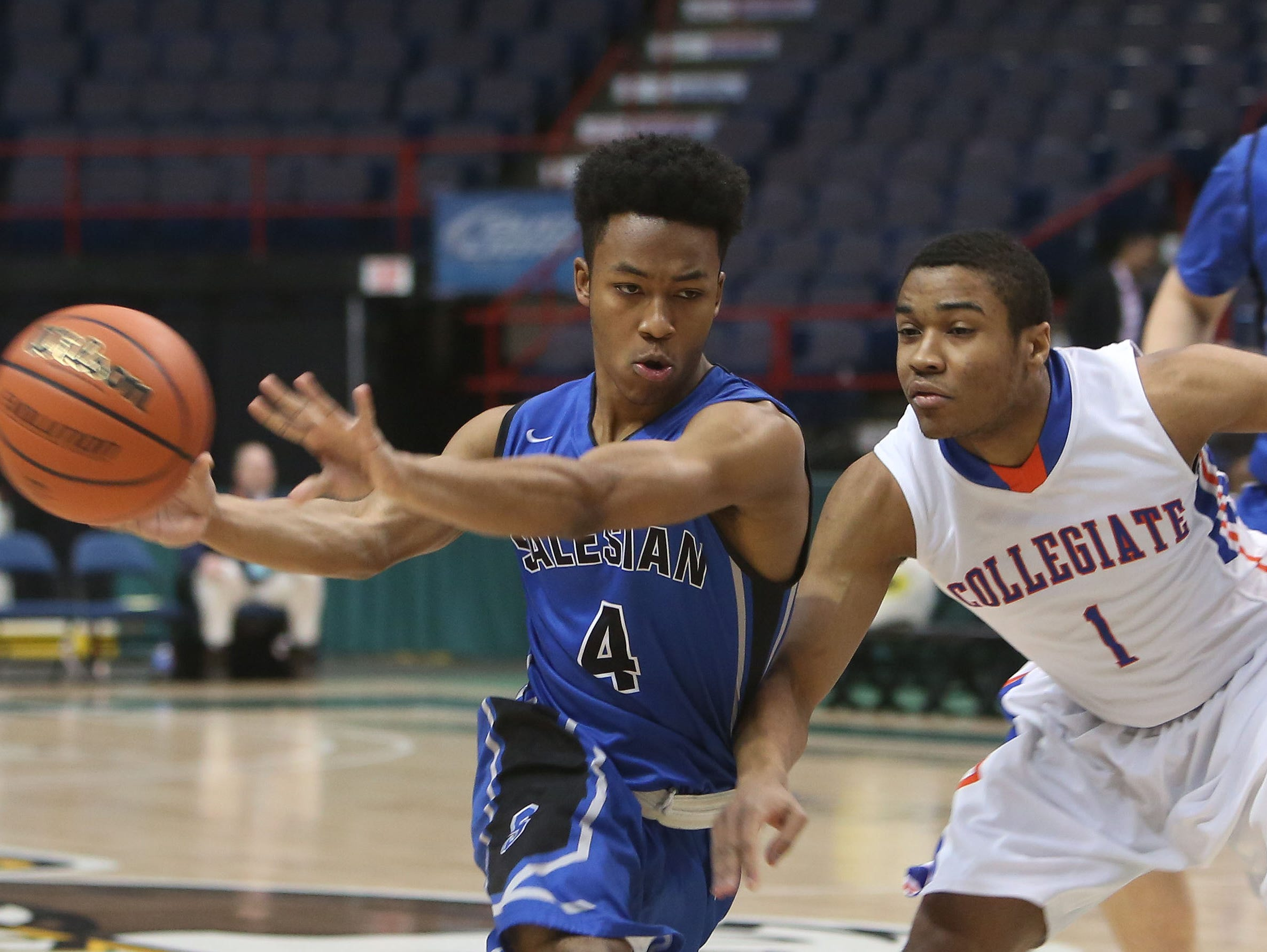 Collegiate defeated Salesian 63-45 in the Class B semifinal of the New York State Federation Tournament of Champions at the Times Union Center in Albany March 18, 2016.