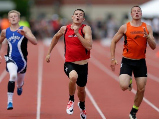Jake Gajewski, of Newman, runs in the Division 3 200-meter dash during the 2016 State Track & Field Championships Saturday, June 4, 2016 at the University of Wisconsin-La Crosse.