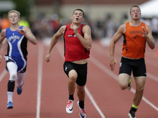 Jake Gajewski, of Newman Catholic, runs in the Division 3 200-meter dash during the 2016 State Track & Field Championships Saturday, June 4, 2016 at the University of WisconsinÐLa Crosse in La Crosse, Wis. Danny Damiani/USA TODAY NETWORK-Wisconsin