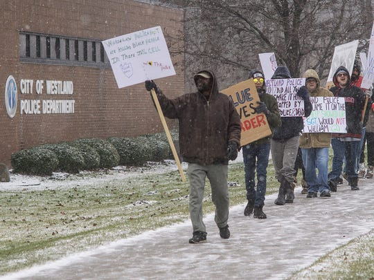 Protesting the death of William Marshall, who died while in custody by the Westland Police Department.
