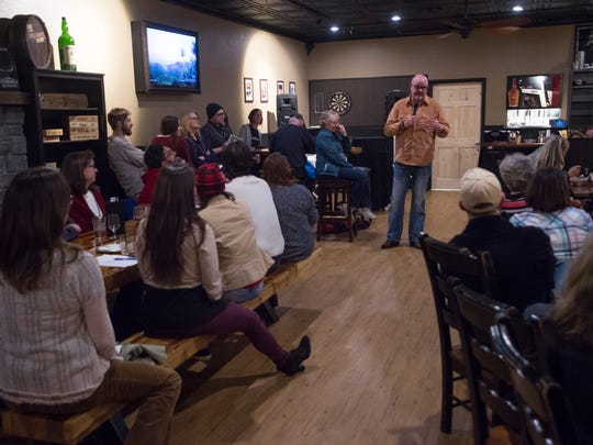 Clay Caldwell, owner of Mo Betta Gumbo in Loveland, speaks during the Coloradan Storytelling event at William Oliver's Publick House Thursday, December 10, 2015.