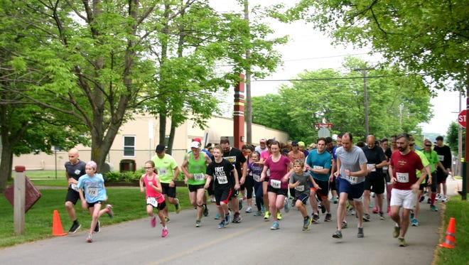 Runners start the Jumping for Java race in Zelienople, Pennsylvania in May.