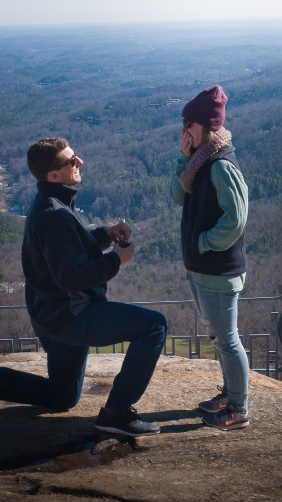 Chase Crabtree and Ashley Traynor, of Durham, recently got engaged at Chimney Rock Park