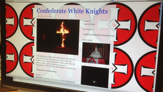 The website of the Confederate White Knights, a Rosedale, Md., group with ties to the Ku Klux Klan.