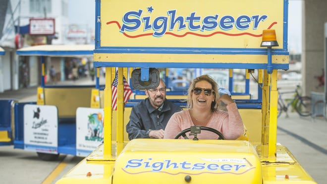 """Courier-Post reporter Carly Q. Romalino is given the opportunity to drive a Wildwood tram car while working on a story about John """"Gig"""" Gigliotti of West Deptford who has been driving Wildwood's iconic Sightseer tram car for decades and is a staple of the Wildwood boardwalk."""