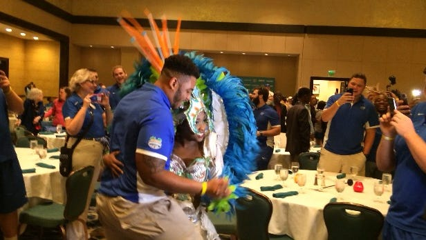 Players dancing during the introduction in the Bahamas on Sunday.