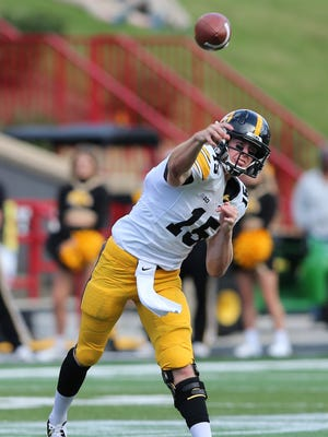 Iowa Hawkeyes quarterback Jake Rudock (15) in action against the Maryland Terrapins.