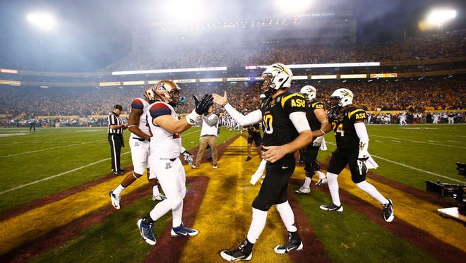 ASU quarterback Taylor Kelly (cq) prepares for kick-off against Arizona during the 87th Territorial Cup on Saturday, Nov. 30, 2013 in Tempe.