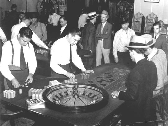 The casino floor at the Bank Club in the 1940s.