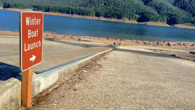 The low water boat ramp at Detroit Lake's Mongold Day Use Area normally provides lake access for boats year round.