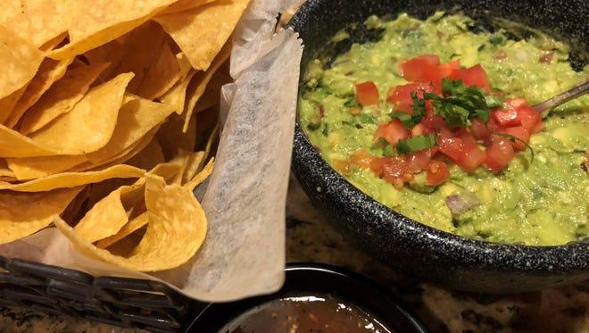 Chips, salsa and fresh guacamole at Agave.