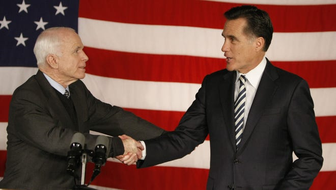 Sen. John McCain with Mitt Romney in 2008, when McCain was running for president.