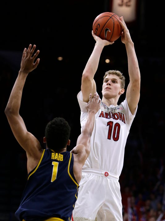 FILE - In this Feb. 11, 2017, file photo, Arizona forward Lauri Markkanen (10) shoots over California forward Ivan Rabb during an NCAA college basketball game in Tucson, Ariz. Markkanen is a candidate for Pac-12 player of the year for the seventh-ranked Wildcats. (AP Photo/Rick Scuteri, File)