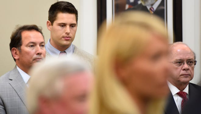 Brandon Vandenburg has a moment to think as the jury is being led out of the courtroom after pronouncing him guilty on all charges against him Saturday, June 18, 2016.
