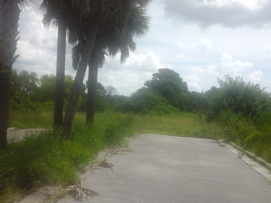Driveway leading to vacant land behind North Bay Village shopping plaza on U.S. 41 in Bonita Springs could soon be site of 108 townhomes.