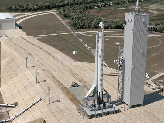 This artist's concept shows Launch Complex 39A at Kennedy