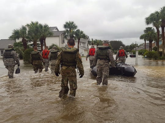 Members of the Florida National Guard's CBRNE (Chemical, Biological, Radiological, Nuclear, Explosives) Enhanced Response Force Package (CERFP) conduct search and rescue missions in St. Augustine on Oct. 7.