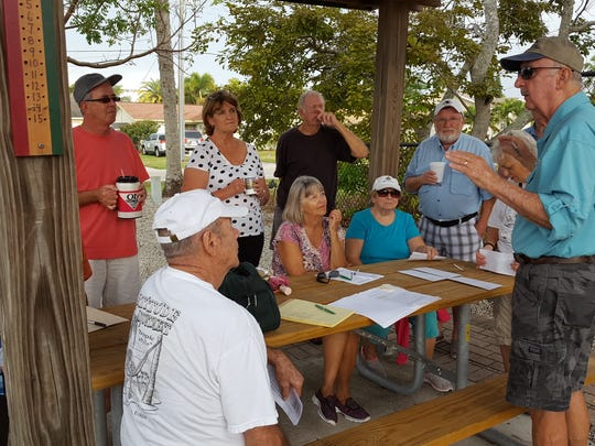 Bocce League Chairman Eddie Hall meets with team Captains for a final shake down before the opening of the Isles of Capri Bocce League Season 2017.